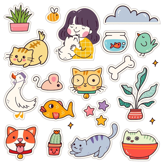 Conjunto de adesivos de kawaii design de remendos de animais fofos