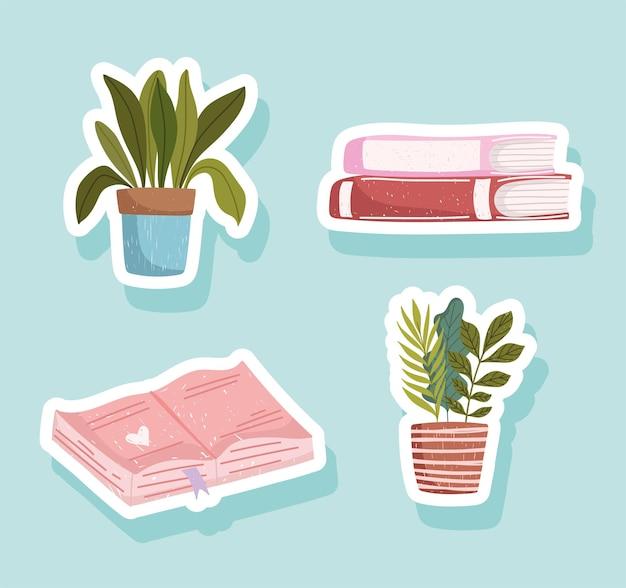 Conjunto de adesivos de livro, livros de ícones acadêmicos e plantas em vasos