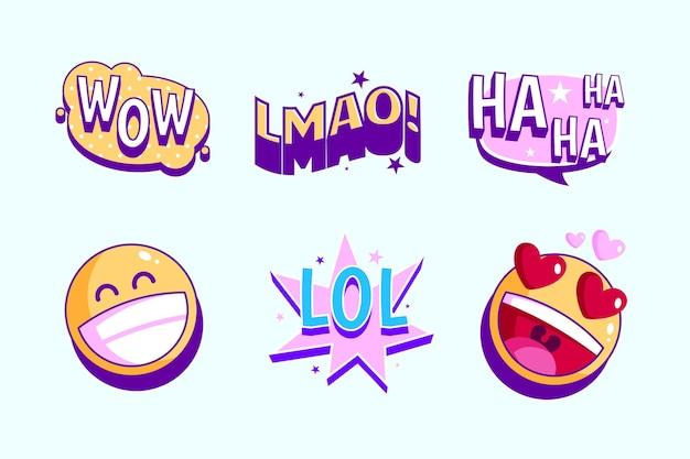 Conjunto de adesivos de lol engraçado