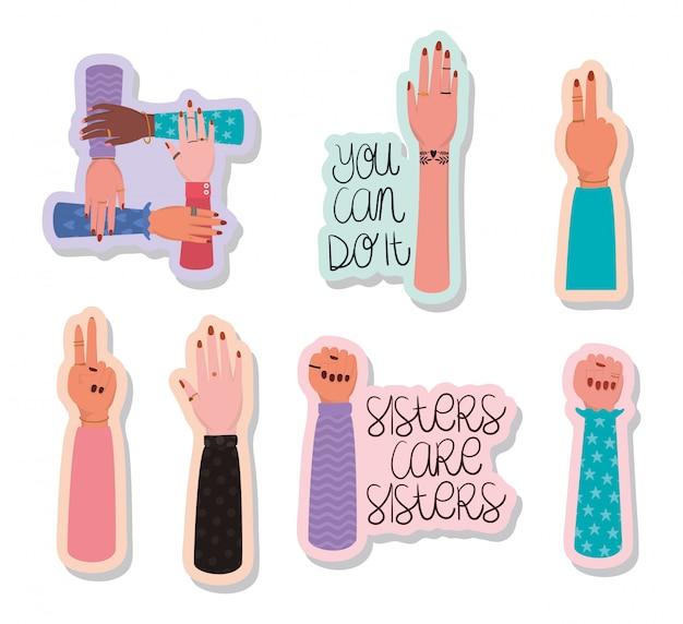 Conjunto de adesivos de mãos e textos de empoderamento das mulheres. conceito feminista do poder feminino