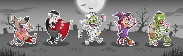 Conjunto de adesivos de monstros de desenhos animados de halloween lobisomem vampiro múmia bruxa zumbi segurando pirulitos