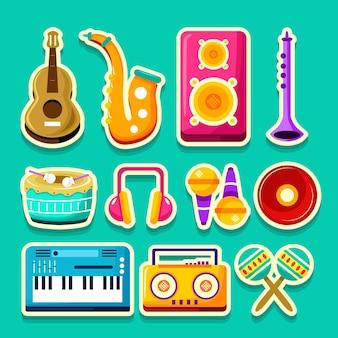 Conjunto de adesivos de música e instrumentos