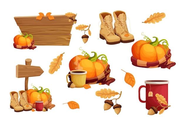 Conjunto de adesivos de outono com xícara de cachecol quente de abóbora com bebida quente, decorado com bolota e folhas