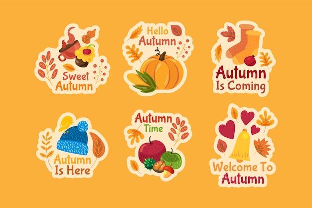 Conjunto de adesivos de outono.