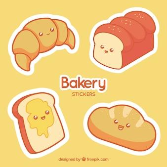 Conjunto de adesivos de padaria com pastelaria e pão