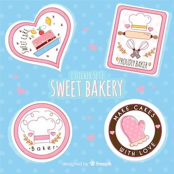 Conjunto de adesivos de padaria doce