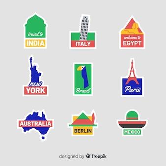 Conjunto de adesivos de países