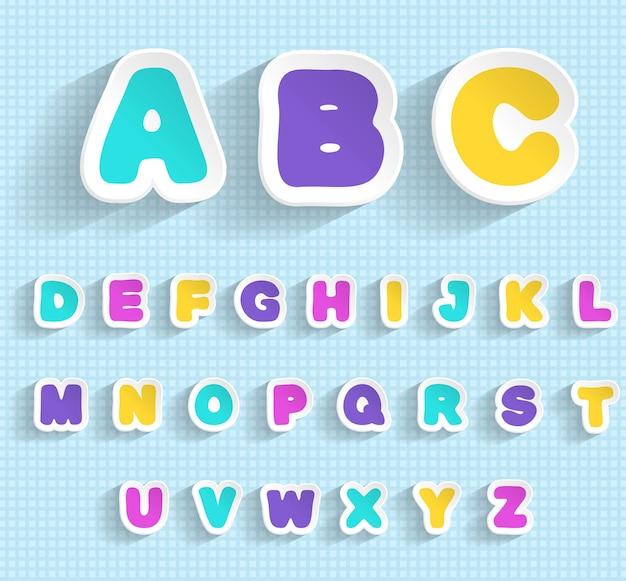 Conjunto de adesivos de papel com letras