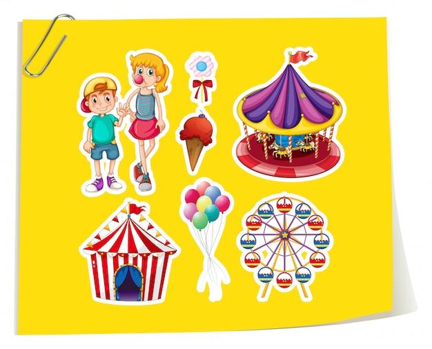 Conjunto de adesivos de parque de diversões