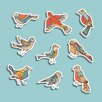 Conjunto de adesivos de pássaros
