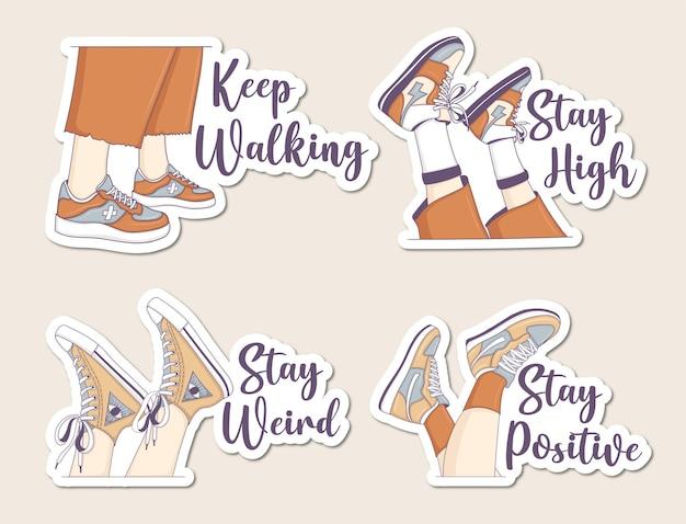 Conjunto de adesivos de pernas estéticas com tênis