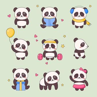 Conjunto de adesivos de personagem panda kawaii bonito.