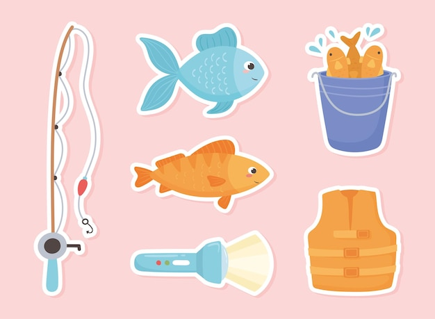 Conjunto de adesivos de pesca