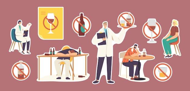 Conjunto de adesivos de pessoas com dependência de álcool. personagens com hábitos perniciosos, vícios e abuso de substâncias, homens e mulheres bêbados dormindo, médico narcologista. ilustração em vetor de desenho animado