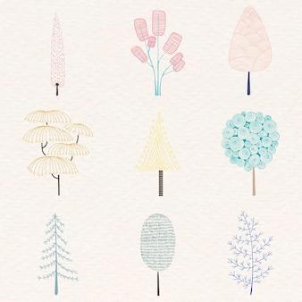 Conjunto de adesivos de pinheiro em tom pastel fofo