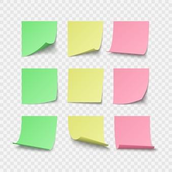 Conjunto de adesivos de pino verde amarelo e vermelho com espaço para texto ou mensagem.