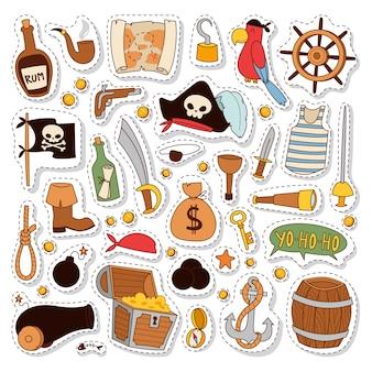 Conjunto de adesivos de pirata.