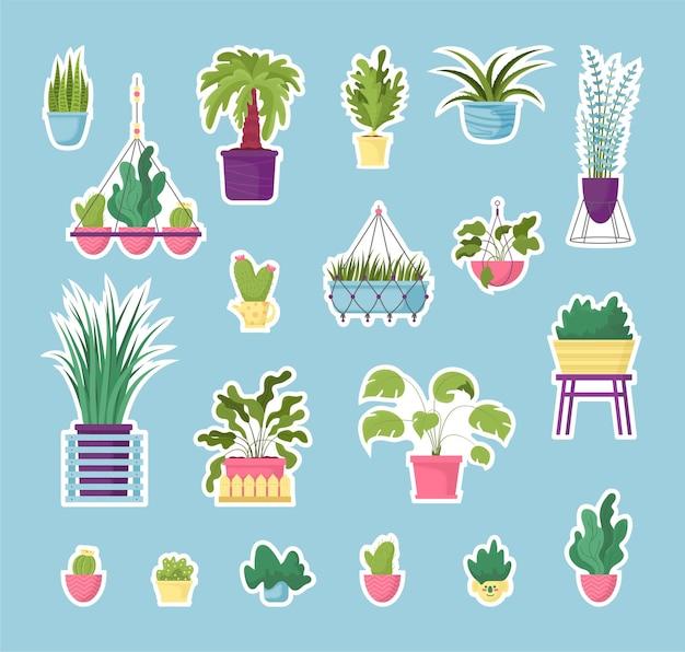 Conjunto de adesivos de plantas em vaso, flores em vasos. desenho natural desenhado à mão