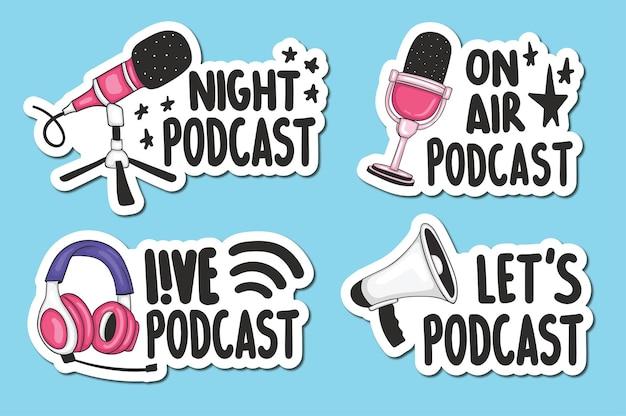 Conjunto de adesivos de podcast