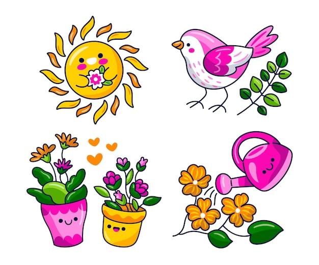 Conjunto de adesivos de primavera kawaii