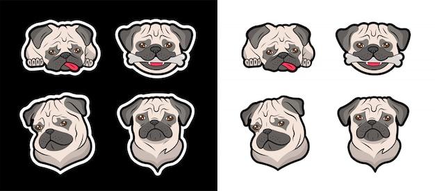 Conjunto de adesivos de pugs