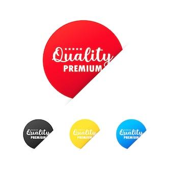 Conjunto de adesivos de qualidade premium. para design gráfico e web. vetor em fundo branco isolado. eps 10