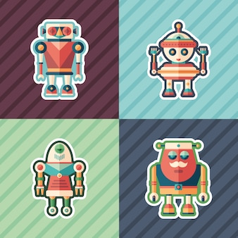 Conjunto de adesivos de robôs engraçados.