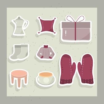 Conjunto de adesivos de roupas de inverno