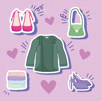 Conjunto de adesivos de roupas