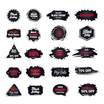 Conjunto de adesivos de sexta-feira negra, coleção de emblemas de desconto, conceito de compras de natal, etiquetas de grande venda