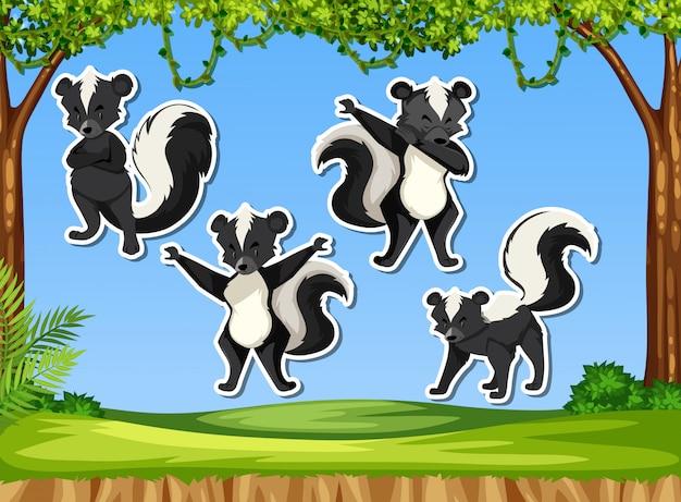 Conjunto de adesivos de skunk