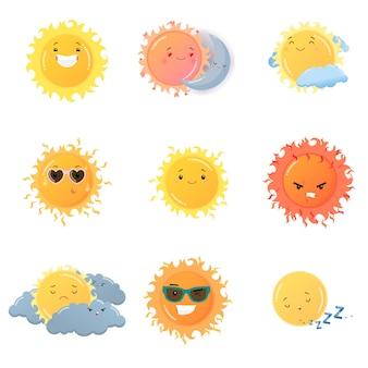 Conjunto de adesivos de sol emoji isolado no fundo branco