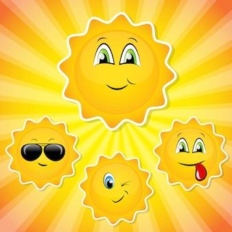 Conjunto de adesivos de sol fofos com emoções