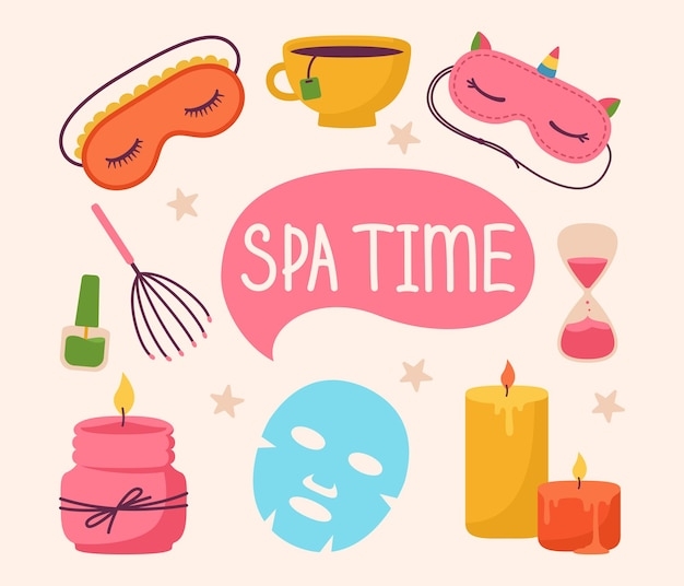 Conjunto de adesivos de spa e salão de beleza, desenho animado, vela aromática, máscara de dormir, cuidado com a pele, tempo