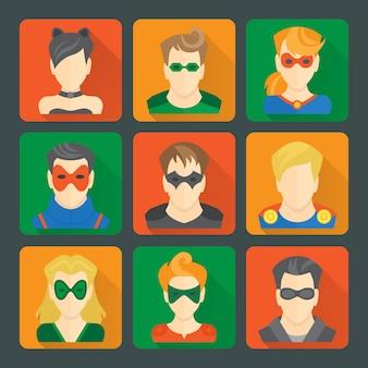 Conjunto de adesivos de super-heróis