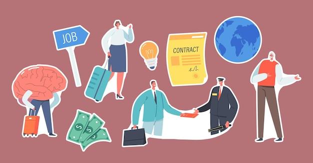 Conjunto de adesivos de trabalho de migração, drenar o cérebro. personagens de empresários deixando a pátria para trabalhar no exterior. pessoas pesquisa oportunidade de trabalho no país estrangeiro. ilustração em vetor de desenho animado