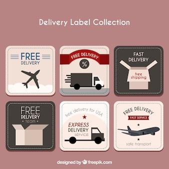 Conjunto de adesivos de transporte para entregas