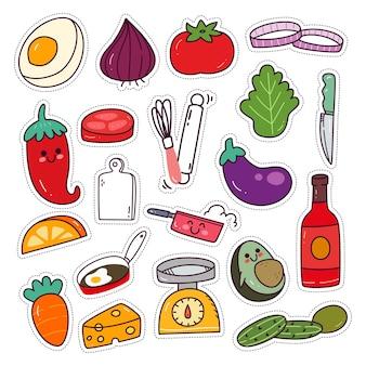 Conjunto de adesivos de utensílios e ingredientes de cozinha kawaii
