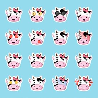 Conjunto de adesivos de vaca bonito