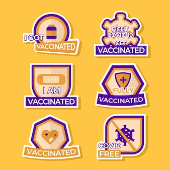 Conjunto de adesivos de vacinação covid19
