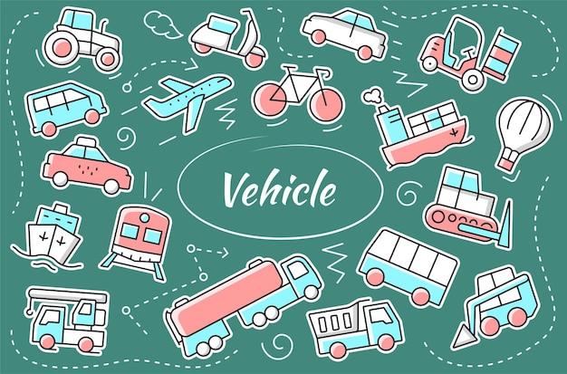 Conjunto de adesivos de veículos. coleção de ícones de transporte. ilustração vetorial.