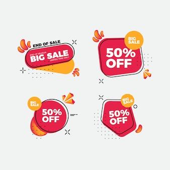 Conjunto de adesivos de venda design plano