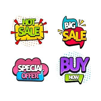 Conjunto de adesivos de vendas de pop art