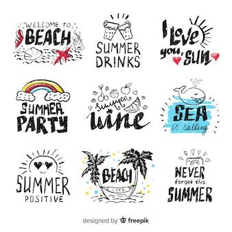 Conjunto de adesivos de verão desenhada de mão