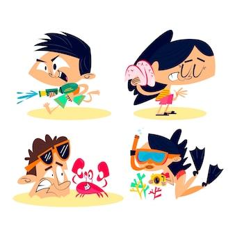 Conjunto de adesivos de verão retrô dos desenhos animados