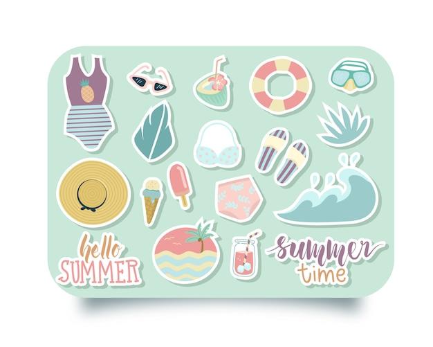 Conjunto de adesivos de verão