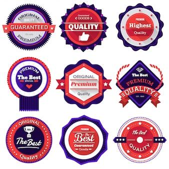 Conjunto de adesivos de vetor e emblemas