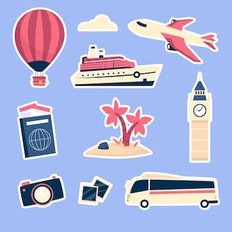 Conjunto de adesivos de viagem de mão desenhada