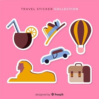 Conjunto de adesivos de viagem plana