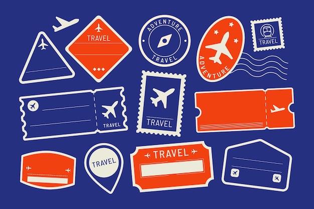 Conjunto de adesivos de viagem vermelhos e azuis